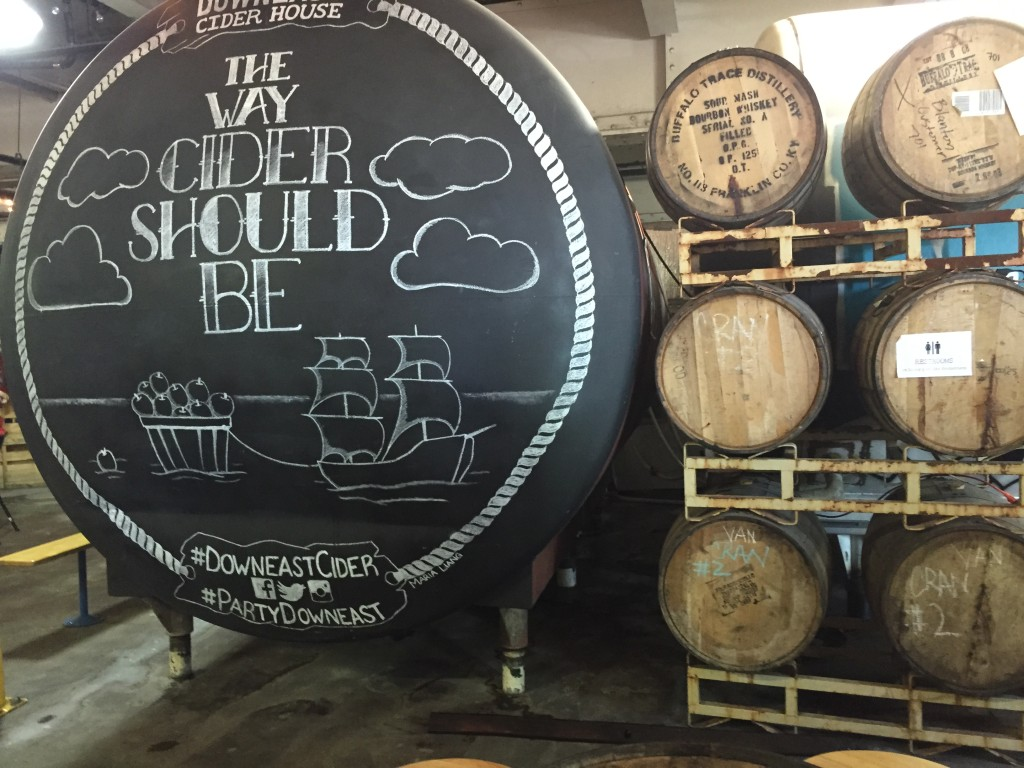 artful, chalk board holding tank at Downeast Cidery, Charlestown, MA