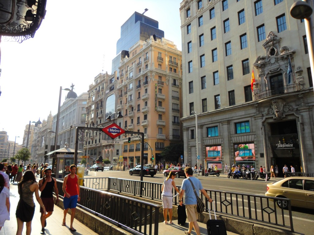 Gran Via metro stop in Madrid, Spain