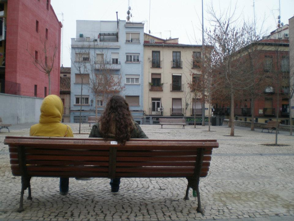 quiet square in Lavapies, Madrid, Spain