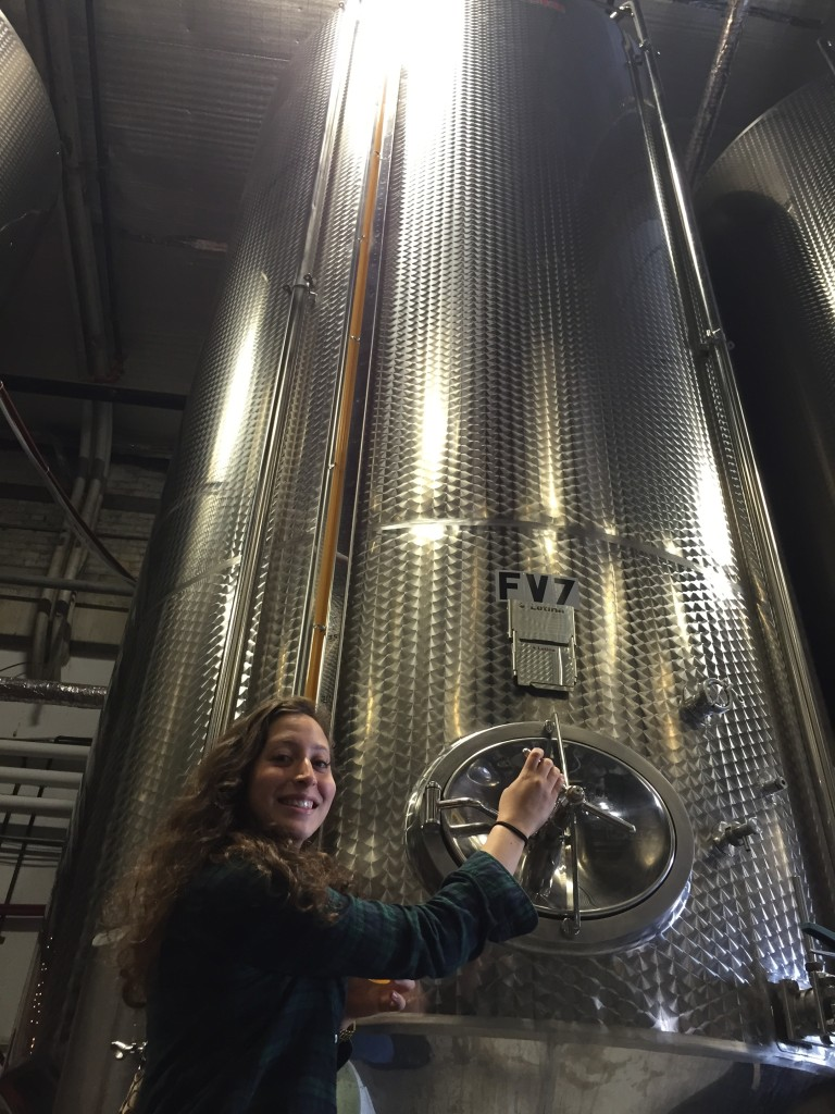 me with a giant fermentation tank at Downeast Cidery, Charlestown, MA
