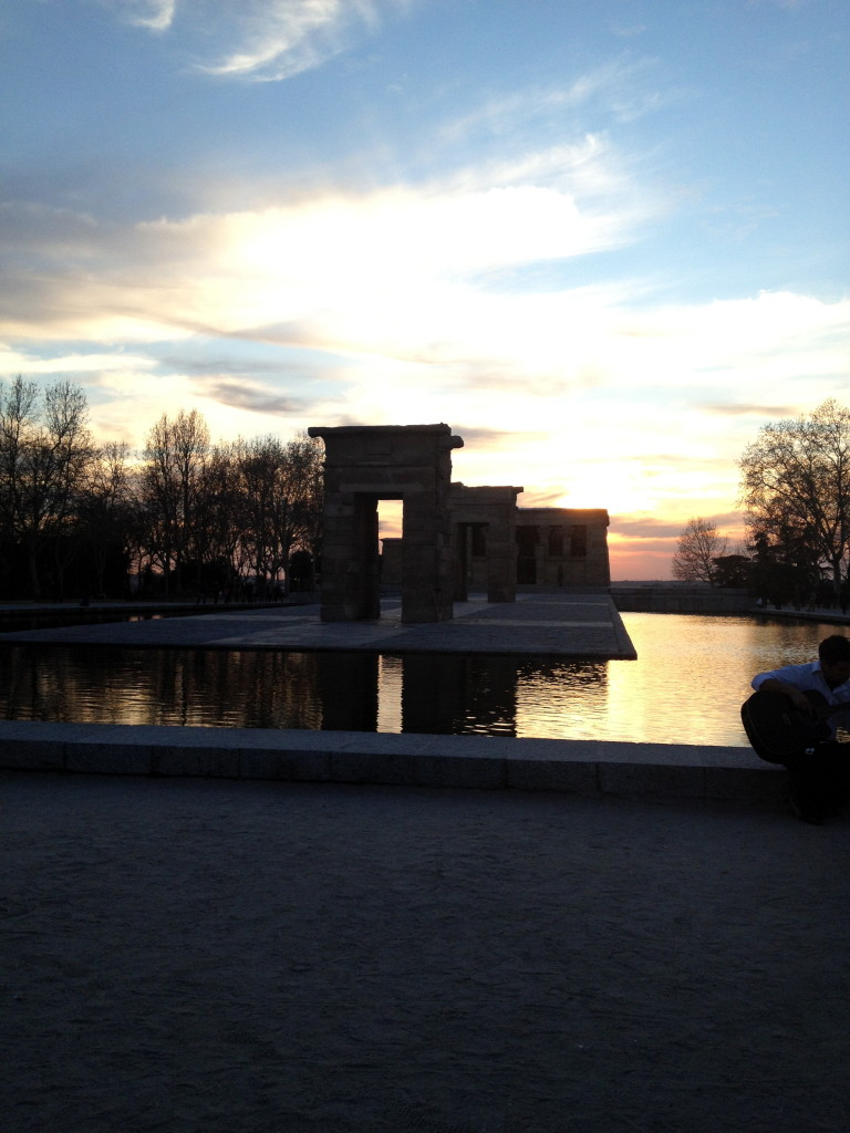 Watching the sun set at the Templo de Debod in Madrid, Spain