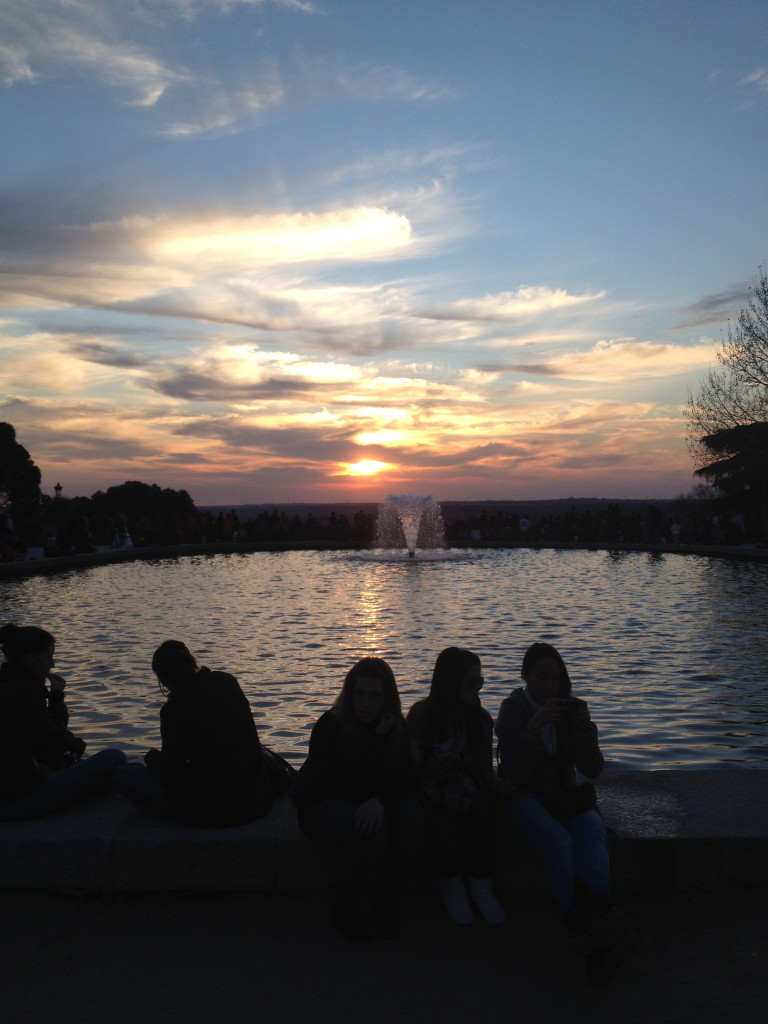 gorgeous sunset at over the fountains at the Temple of Debod