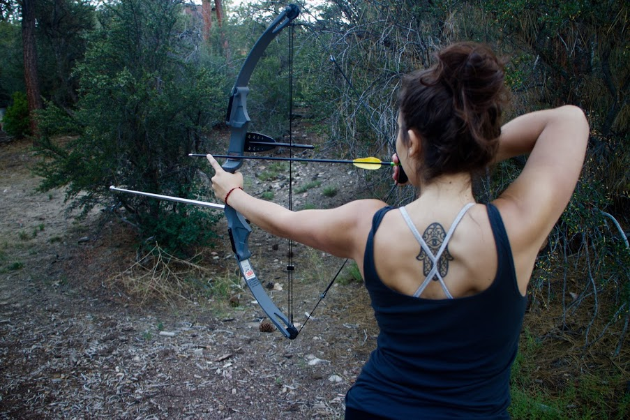 notched bow, archery, ITH big bear mountain adventure lodge