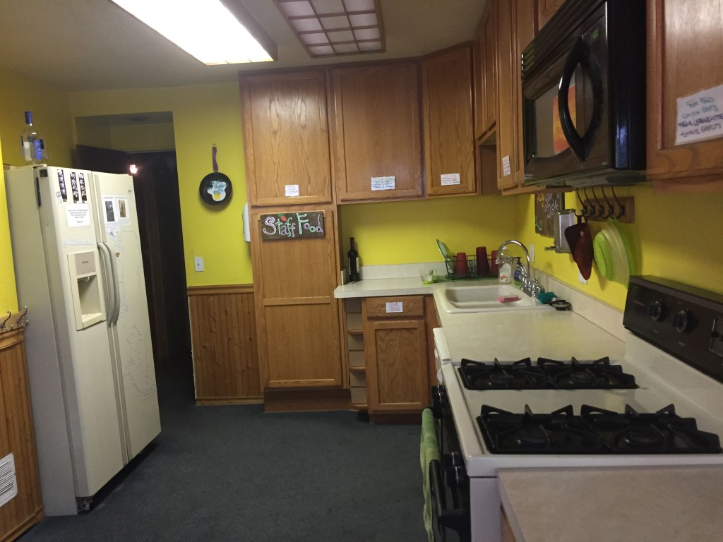 Guest kitchen at ITH Big Bear Mountain Adventure Lodge in Big Bear Lake, California