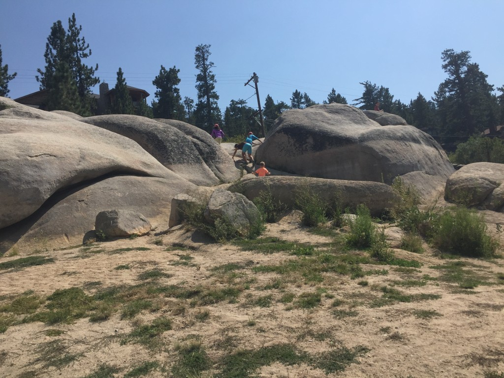 The rock formations at Boulder Bay Park are great for climbing and photos, Big Bear Lake, California