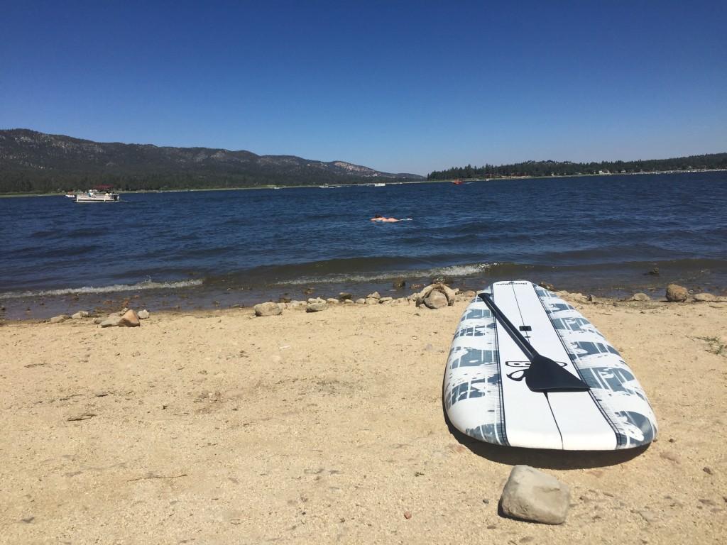 Paddle boarding on Big Bear Lake, California