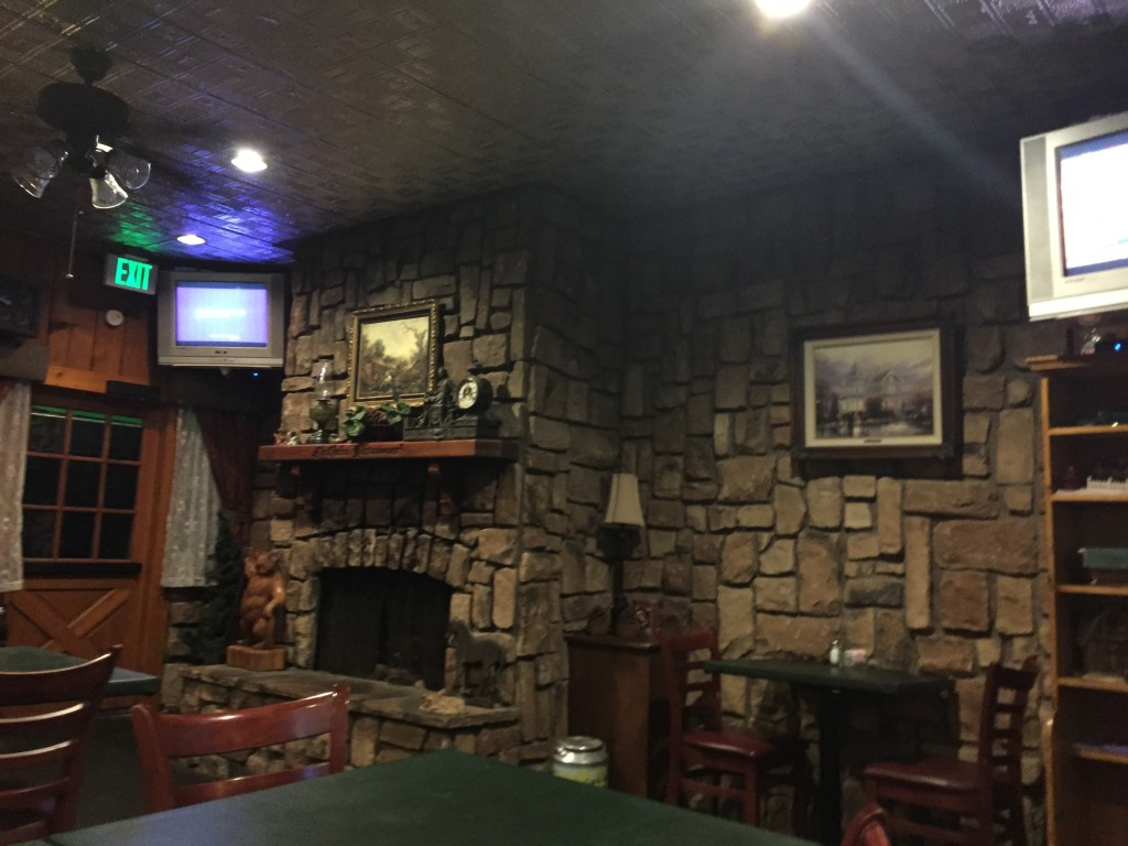 Homey and rustic atmosphere at Log Cabin Restaurant, Big Bear Lake, California