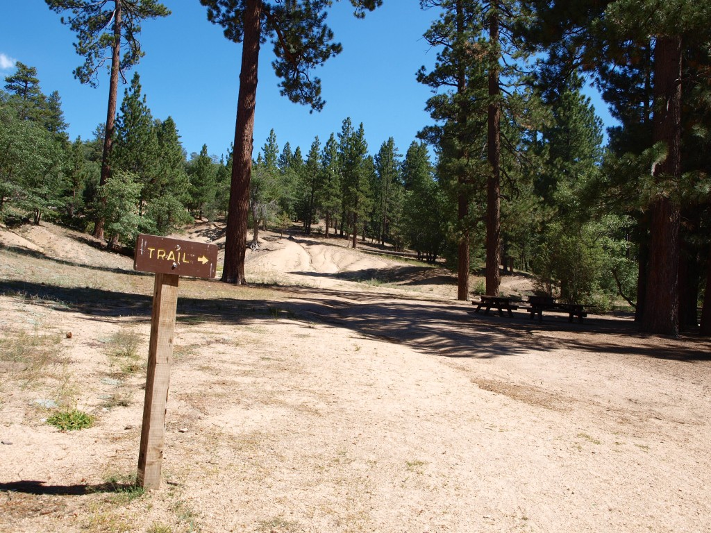 Sign for Pine Knot Trail in Big Bear Lake, California
