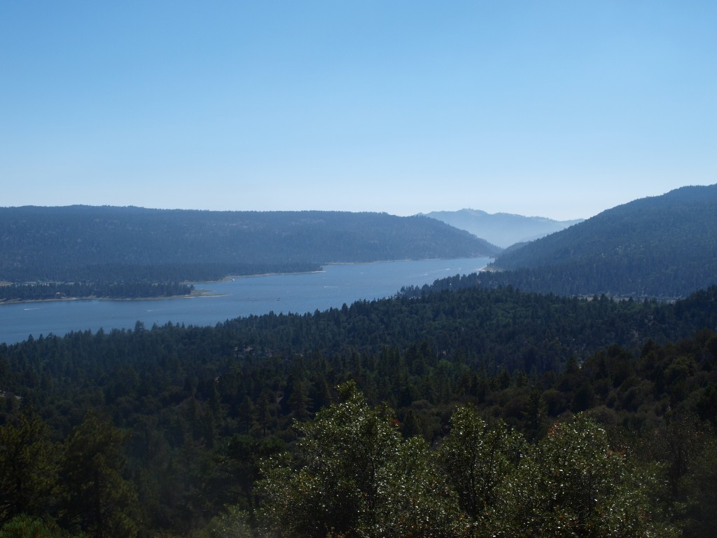 sliver of a view of Big Bear Lake on the Cougar Crest Trail, California