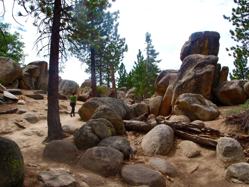 Boulders and large rock formations abound on the Castle Rock Trail in Big Bear Lake, California