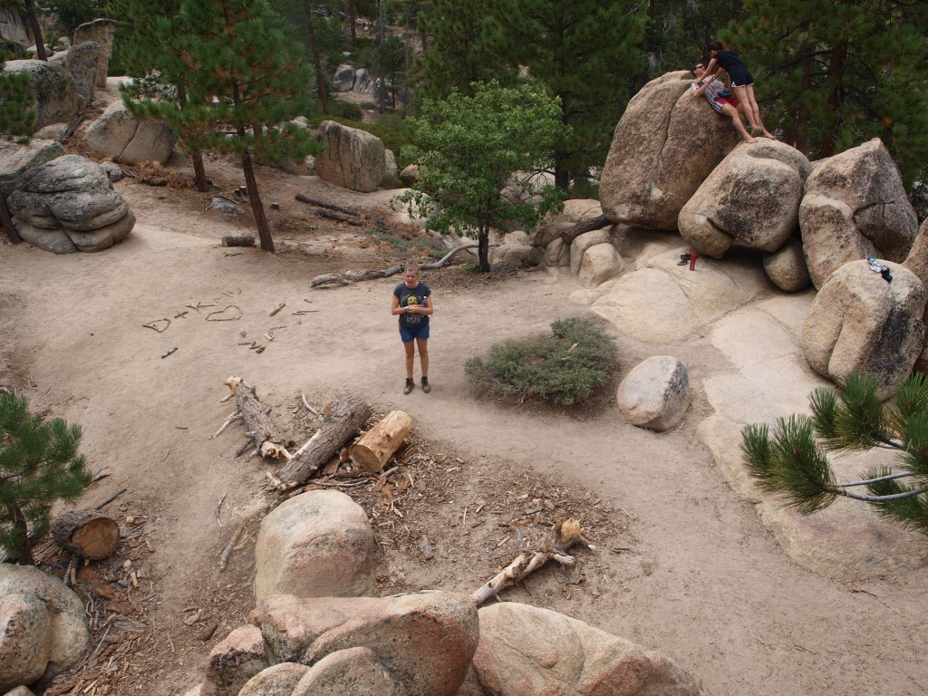 Gathering of boulders at the midway point to the top of Castle Rock Trail in Big Bear Lake, California