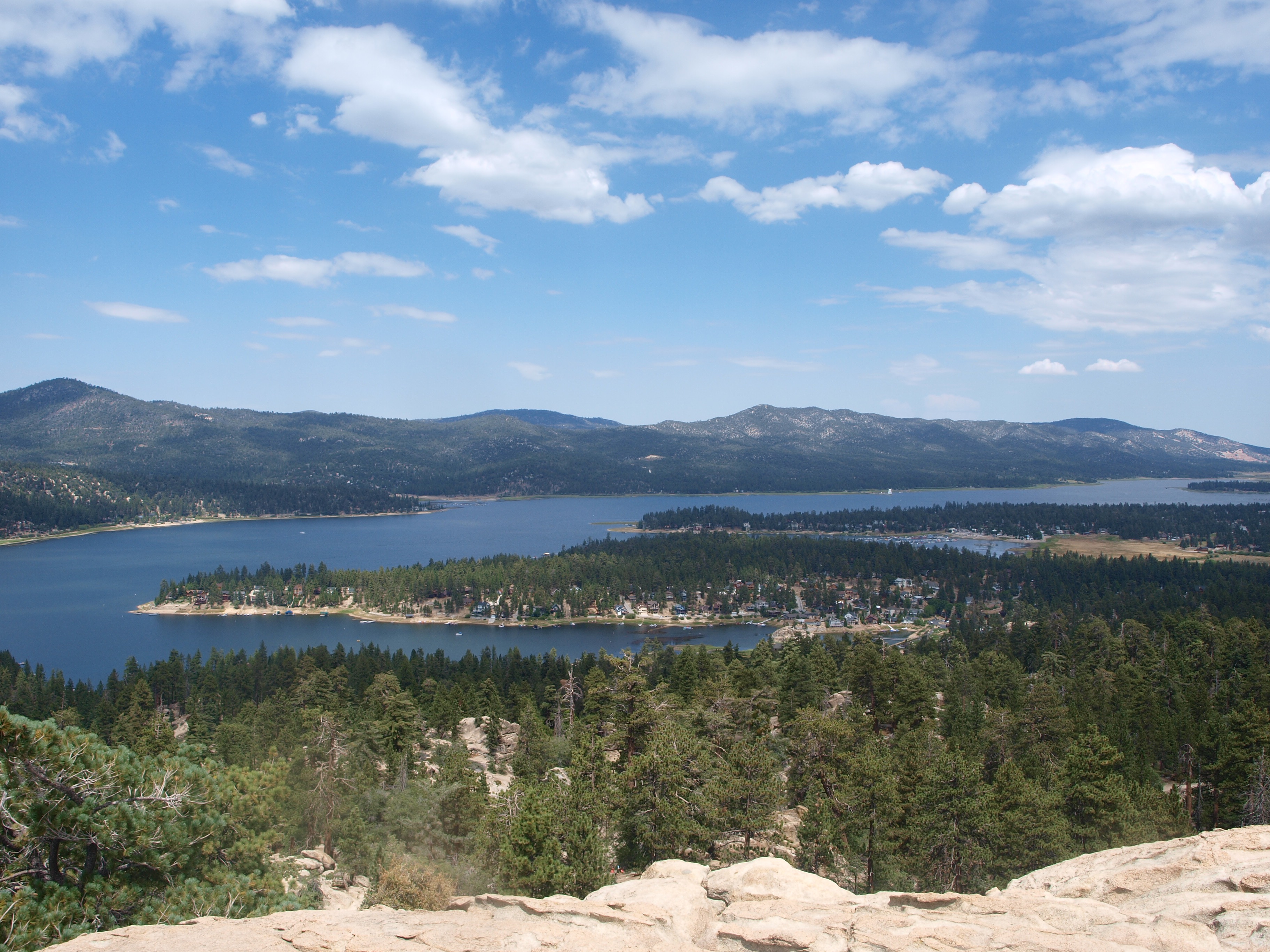 View of Big Bear Lake from the top of Castle Rock Trail, California
