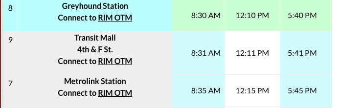 Screenshot of Mountain Transit schedule from Greyhound Station and Metrolink Station,San Bernardino, California