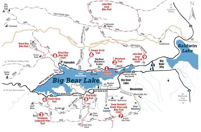 trails map Big Bear Lake, California