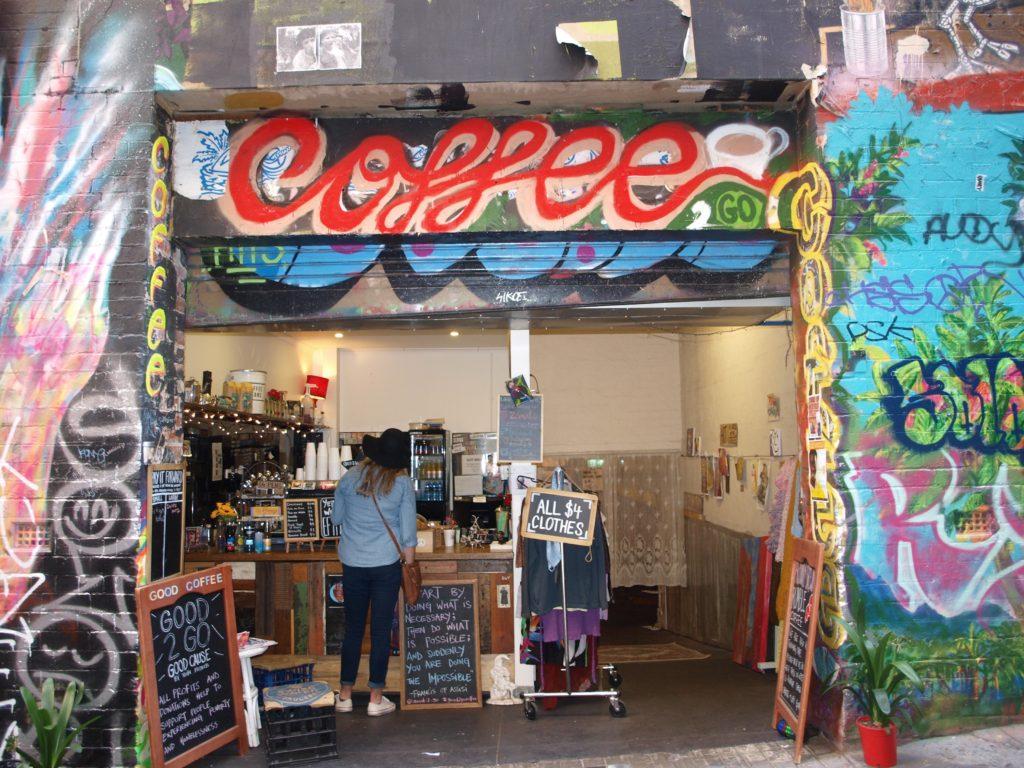 Facade of Good 2 Go Coffee, Hosier Lane, Melbourne