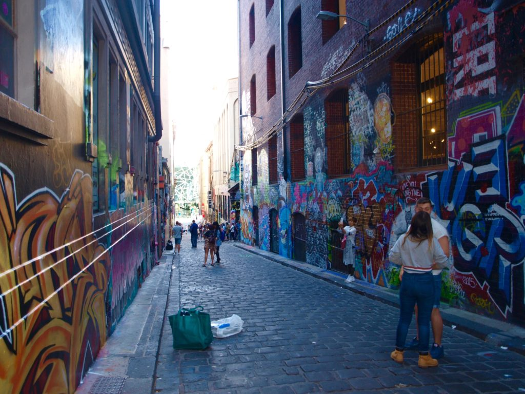 View looking down Hosier Lane's graffiti-covered walls in Melbourne