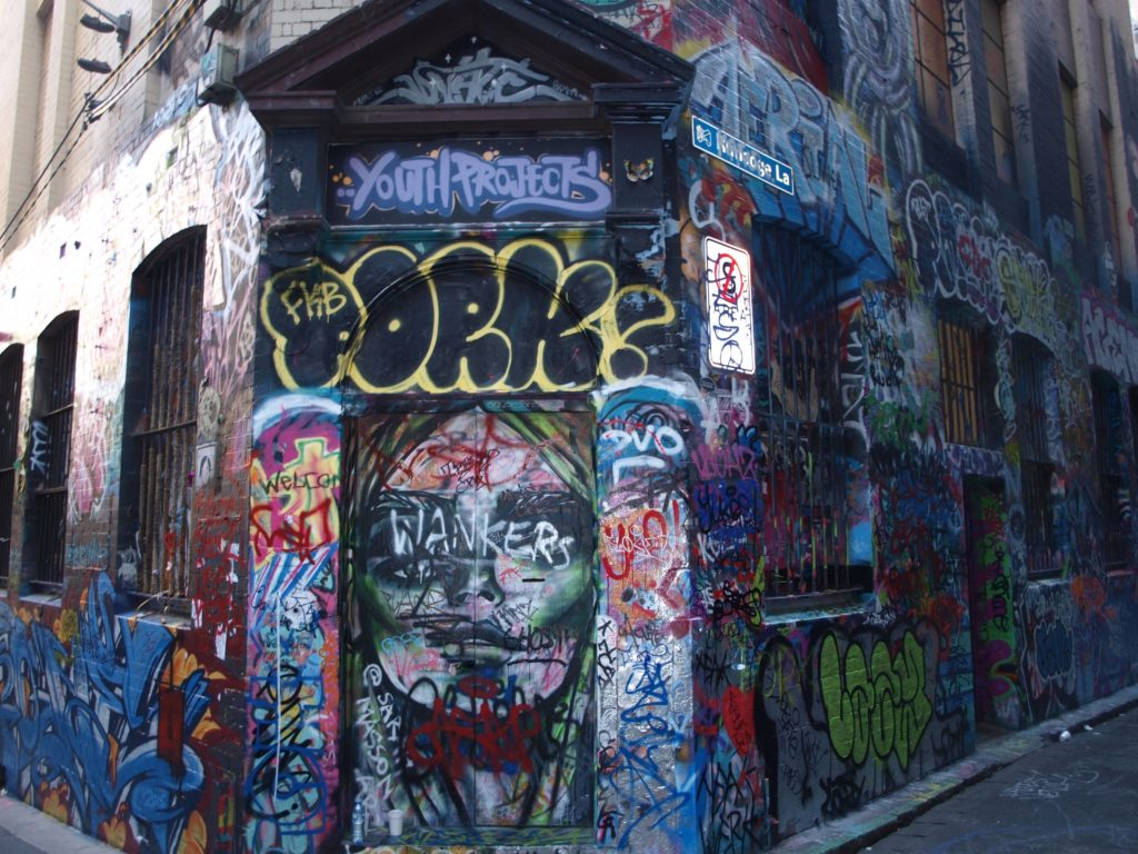 Street art-covered facade of Youth Projects, Hosier Lane, Melbourne