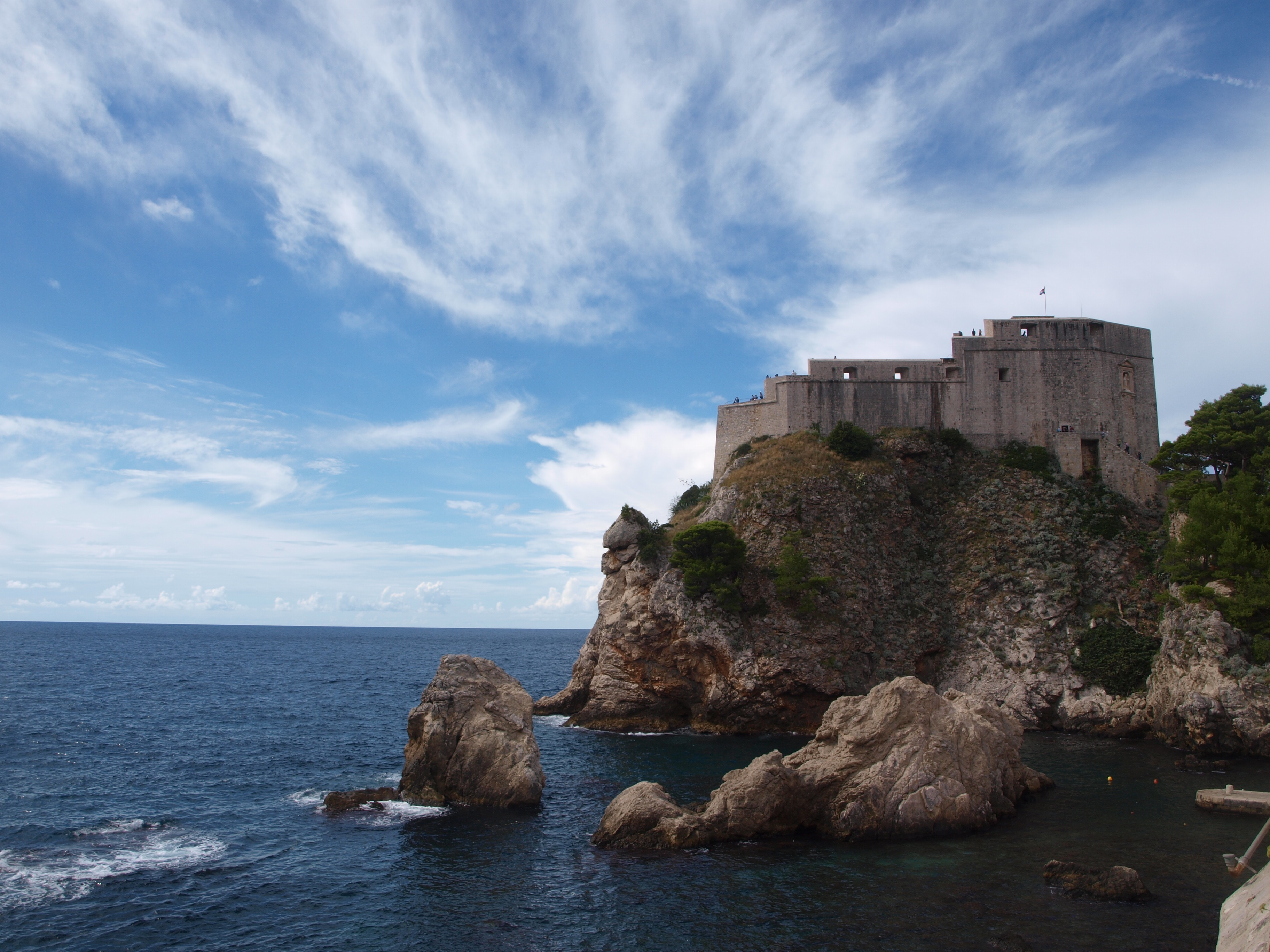 Photo of Lovrijenac Fortress, Dubrovnik, Croatia with blue and cloudy sky