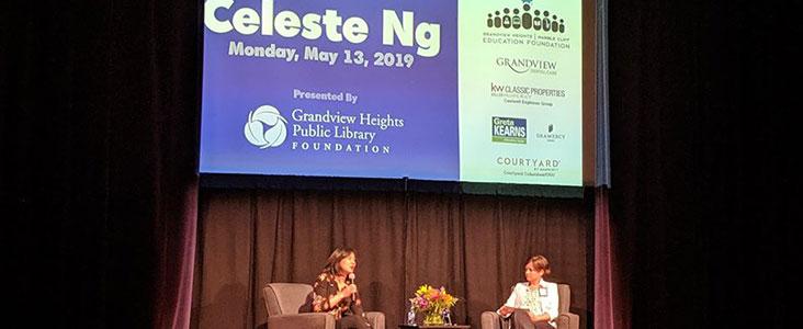 Celeste Ng, GHMCEF Grants speaker seen on stage