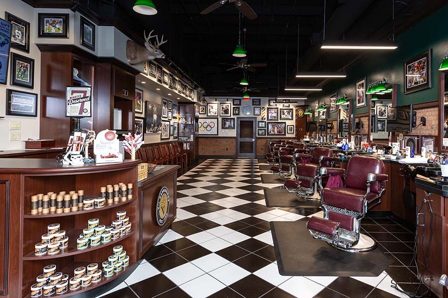 Interior of V's barbershop