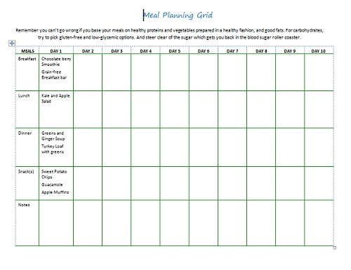 meal planning grid image