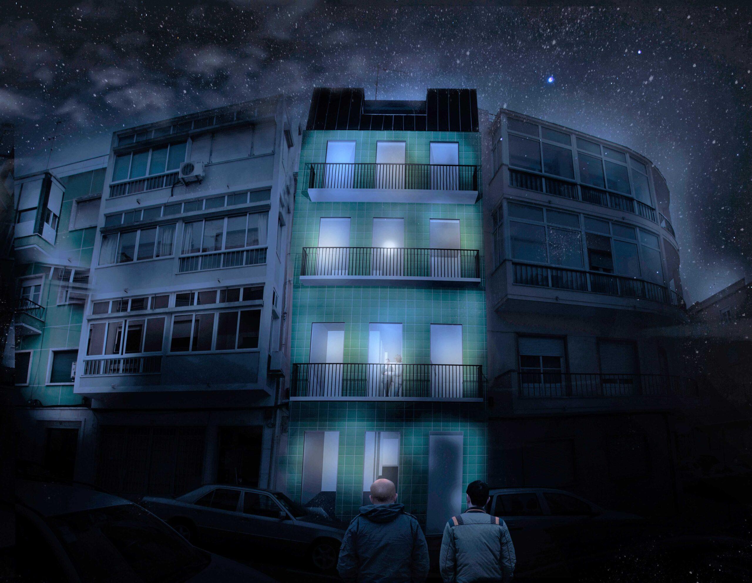 Simulação da fachada à noite