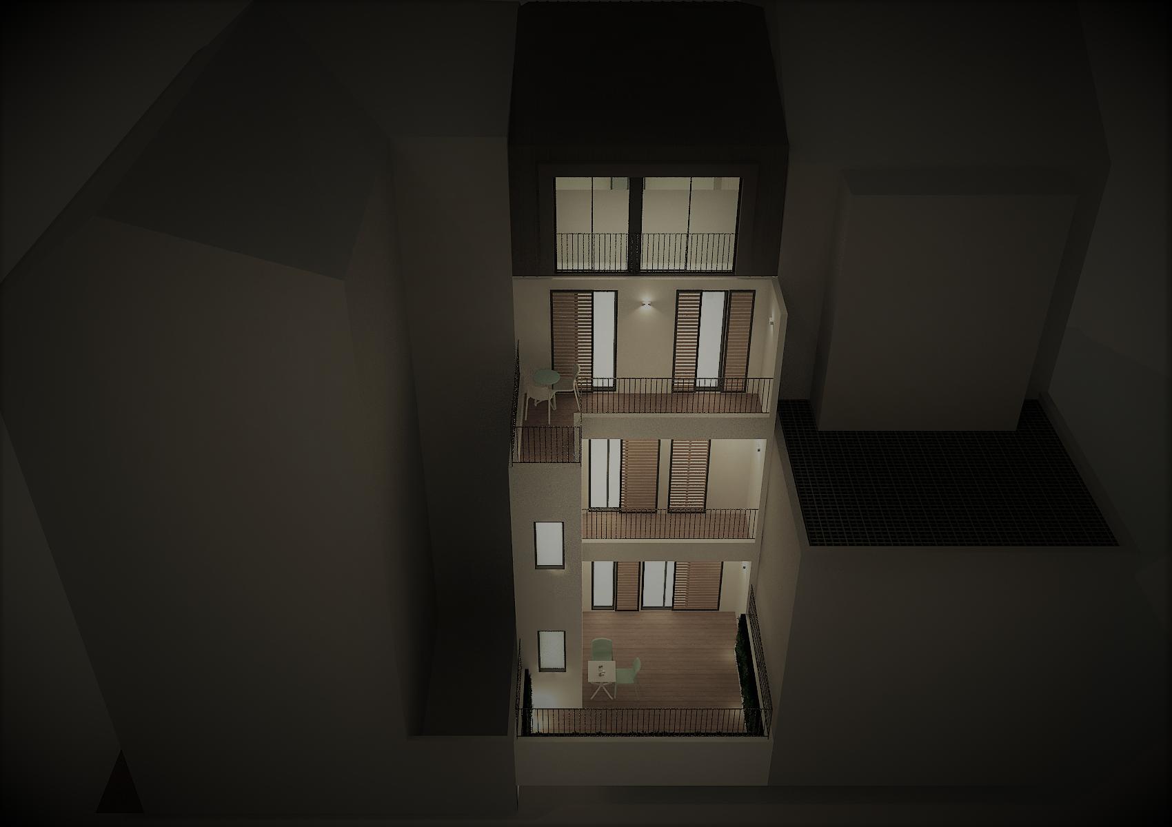 Simulação 3D da fachada de tardoz