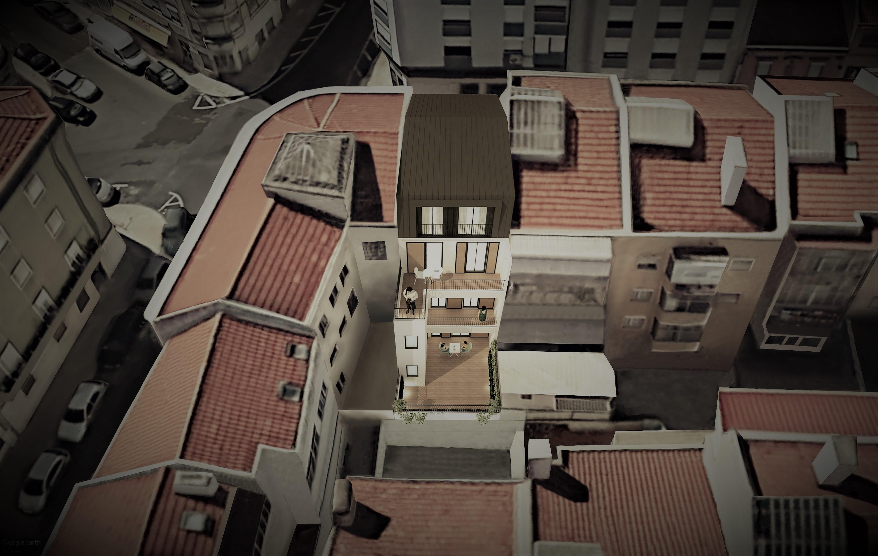 Simulação tridimensional da fachada de tardoz