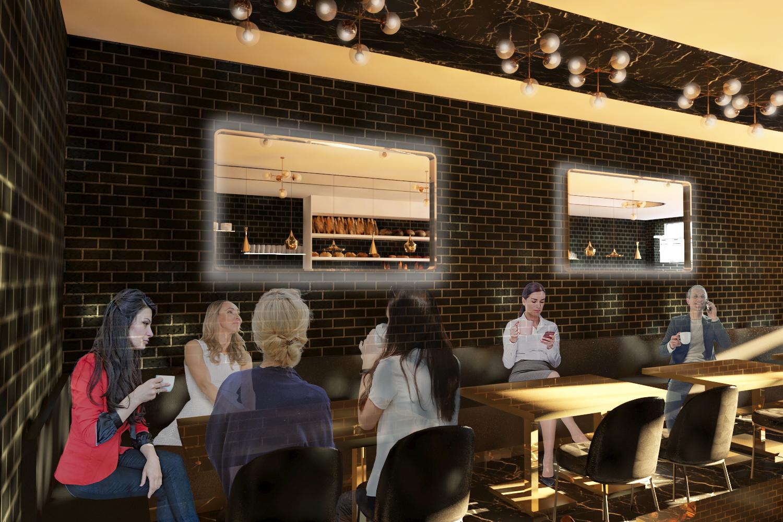 Simulação tridimensional da proposta A do espaço de restauração da pastelaria Charlot
