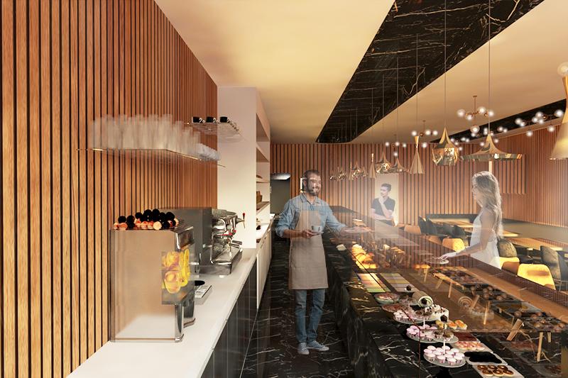 Simulação tridimensional da proposta B para o espaço de restauração da Pastelaria Charlot