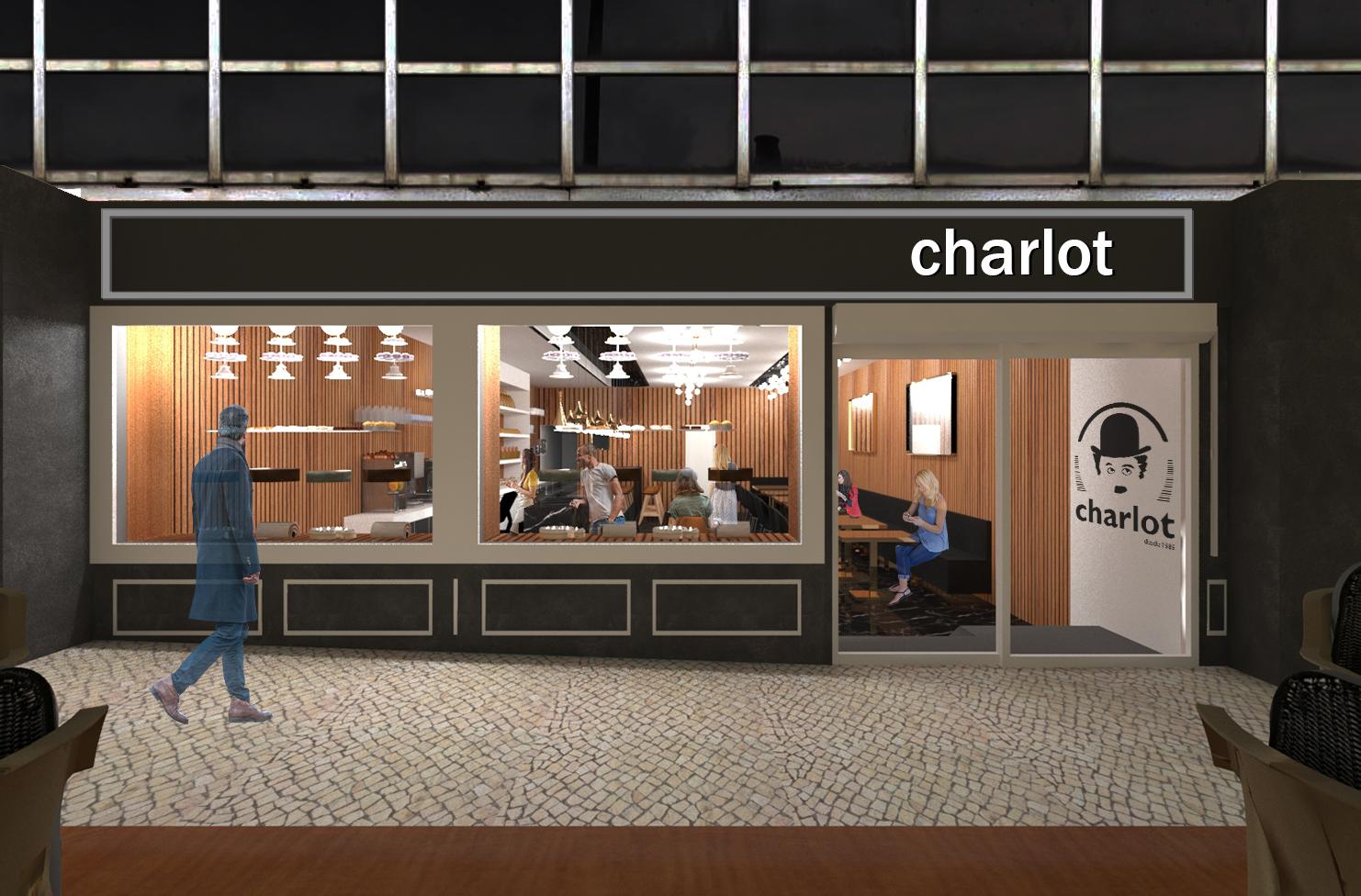 Simulação tridimensional da proposta B da vitrine da pastelaria Charlot