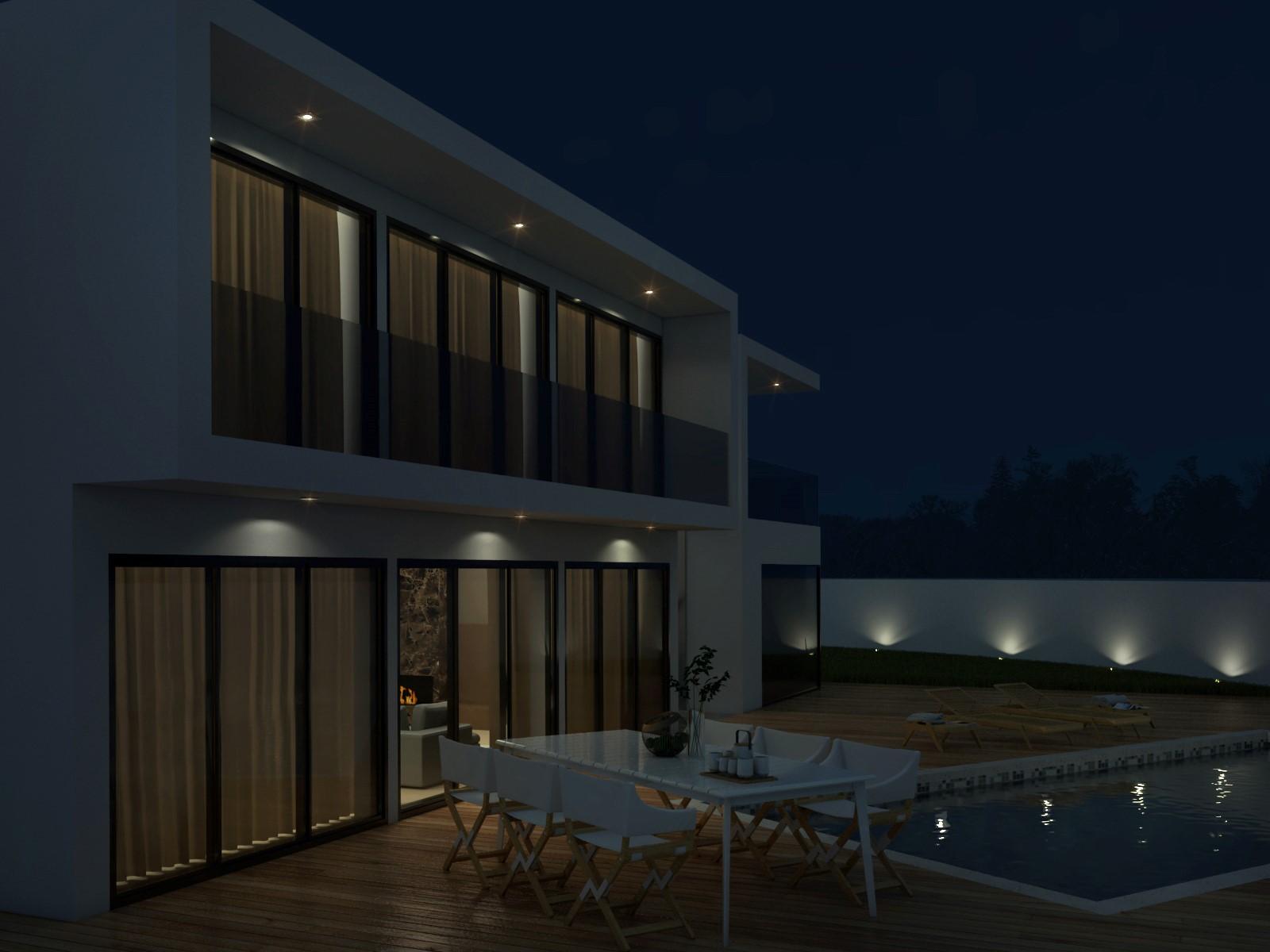 Área Exterior da piscina de noite