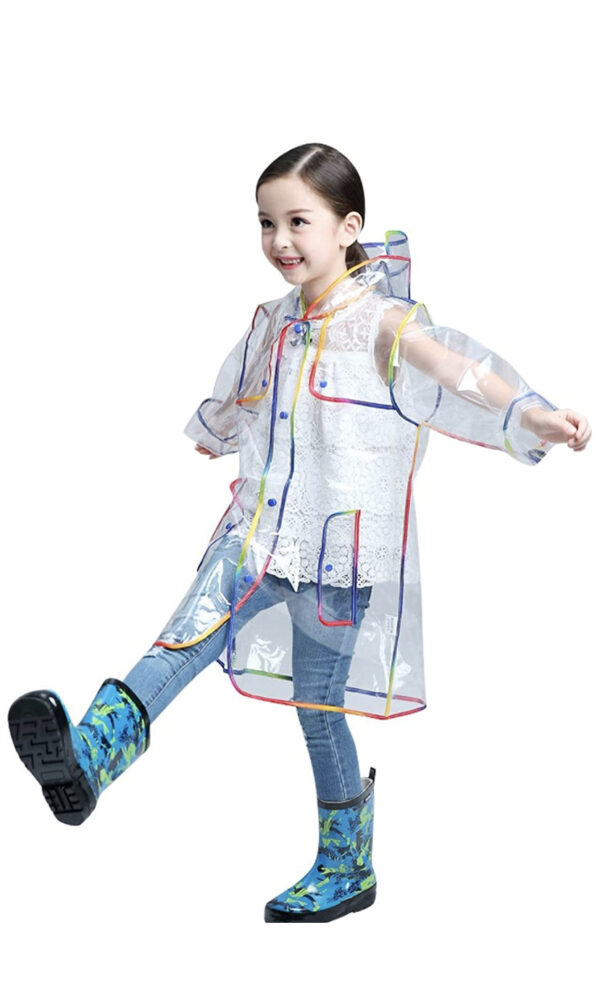 Girls Rainbow Transparent Raincoat