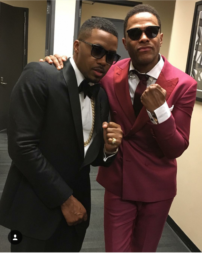 Nas & Maxwell after performing in Brooklyn on Valentine's Day