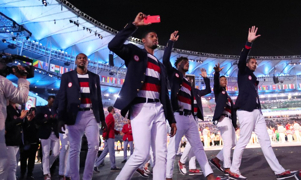 Aug 5, 2016; Rio de Janeiro, Brazil; USA basketball players Kevin Durant , Paul George , Jimmy Butler and Carmelo Anthony during the opening ceremonies for the Rio 2016 Summer Olympic Games at Maracana. Mandatory Credit: Rob Schumacher-USA TODAY Sports ORG XMIT: USATSI-323234 ORIG FILE ID: 20160805_jel_usa_181.jpg