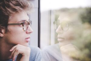 self-reflection, looking forward, pondering the future, rearview mirror