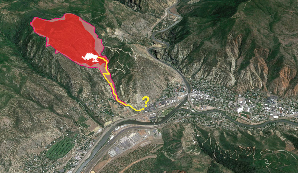 An aerial view of the proposed limestone mine area near the city of Glenwood Springs.