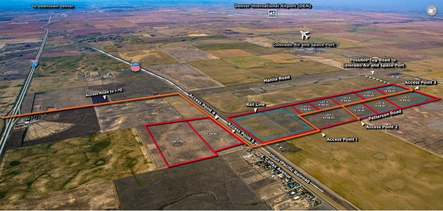 Rocky Mountain Industrials ha propuesto un parque industrial de 600 acres en el condado de Adams, junto al puerto aéreo y espacial de Colorado. Imagen proporcionada al Denver Post por Rocky Mountain Industrials.