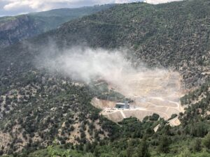 Large blasts from the Rocky Mountain Industrials limestone quarry shook Glenwood Springs on July 16, 2021, around 8:30 a.m. and again around 4:55 p.m. Ginny Minch captured this image of dust drifting out of the mine site about 5 minutes after the 4:55 p.m. blast.