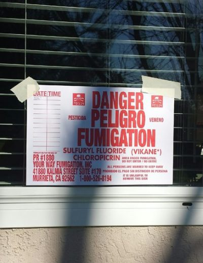 Termite fumigation warning sign