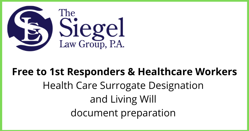 Free to 1st Responders & Healthcare Workers Health Care Surrogate Designation and Living Will document preparation