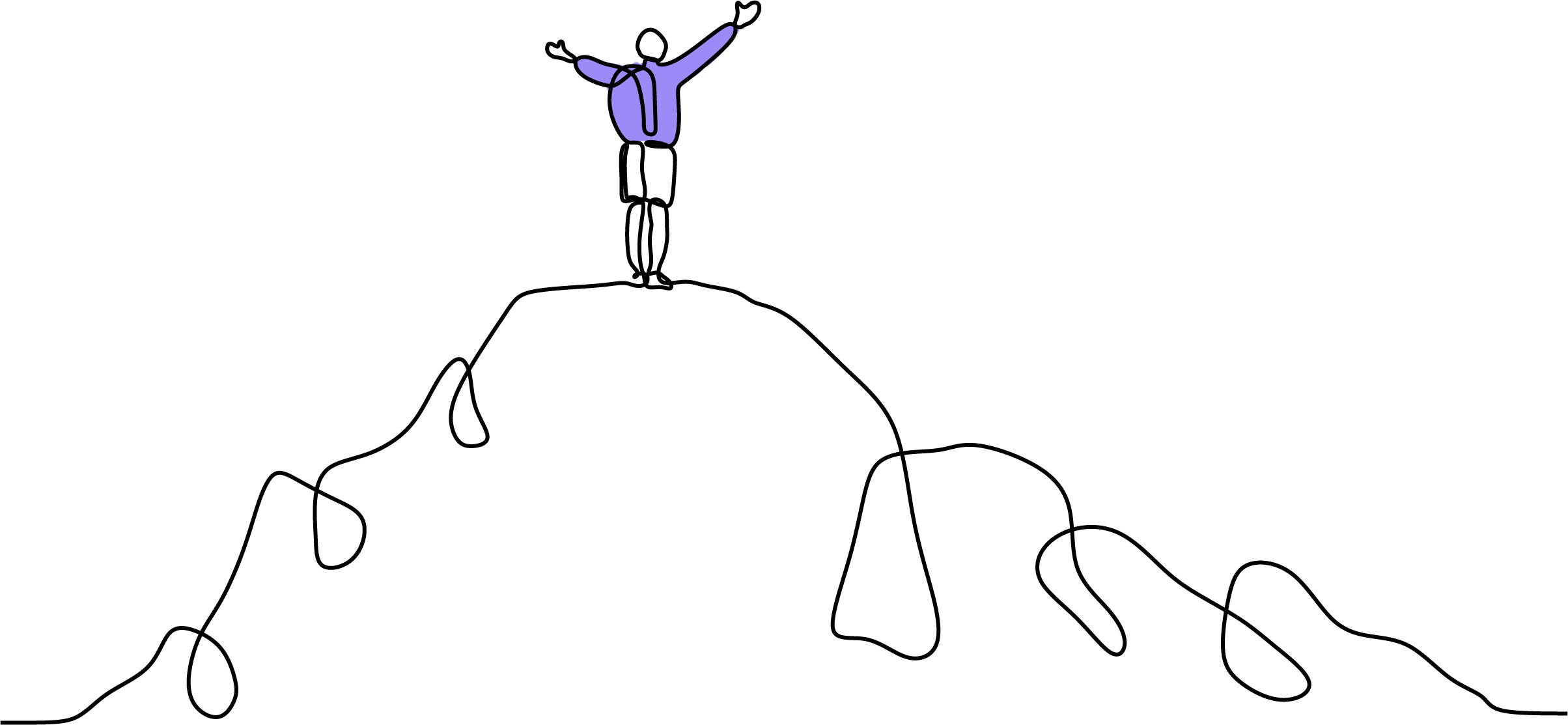 Image showing a person standing atop a mountain. Accomplishment.