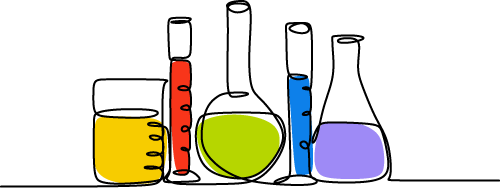 Illustration showing various test tubes holding colourful liquids. Experiments.