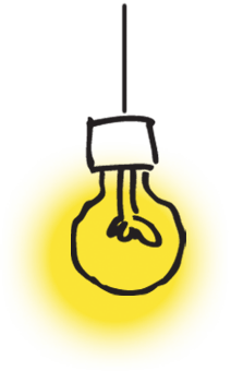 Illustrated graphic of a lit light bulb