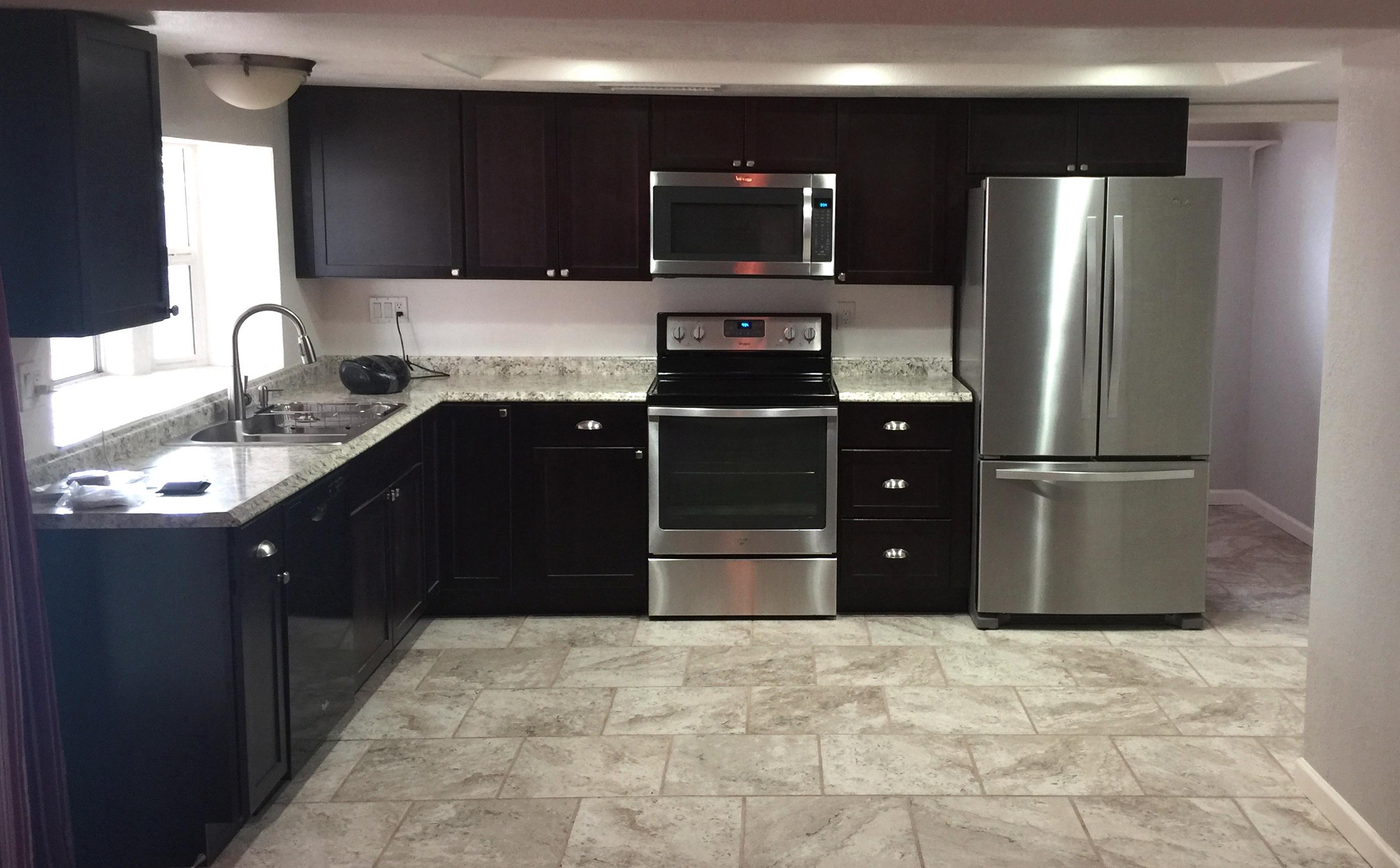 dark wood modern kitchen remodel