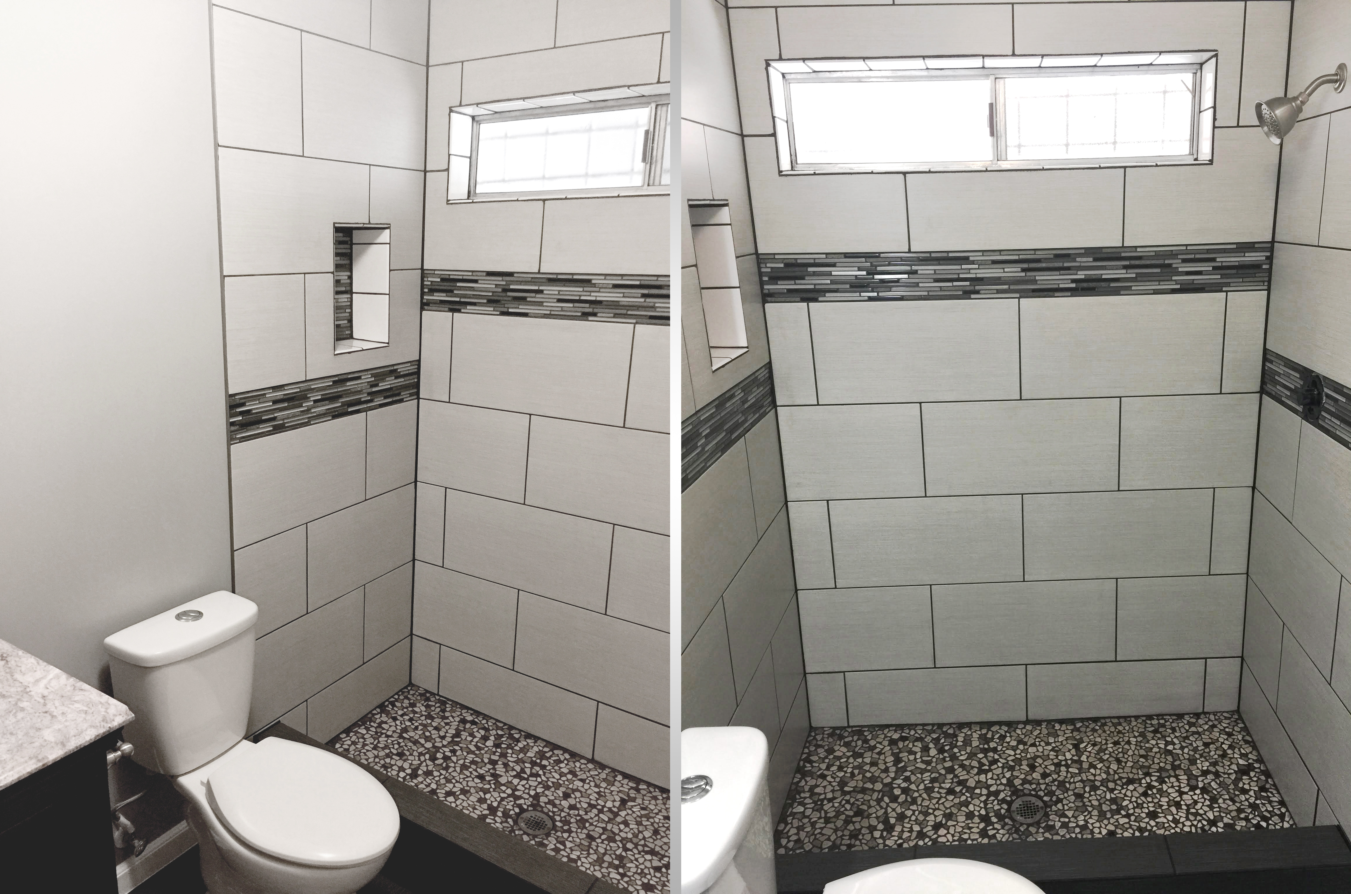 tile shower with glass tile