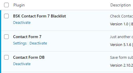 BSK Contact Form 7 Blacklist