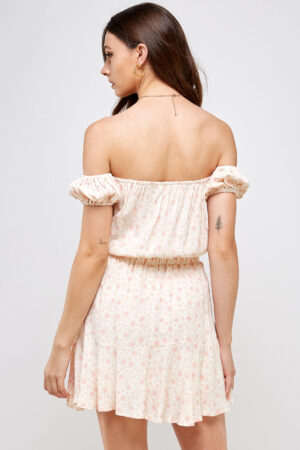 100% Rayon Off Shoulder Smocked Waistband Ruffle Detail on Skirt Back View