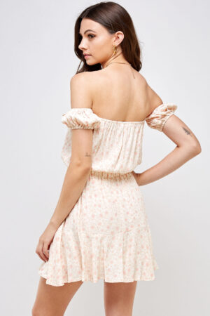 100% Rayon Off Shoulder Smocked Waistband Ruffle Detail on Skirt 3/4 Back View