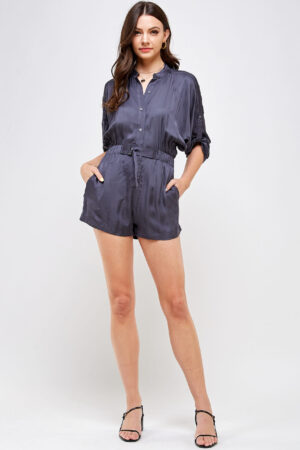 100% Polyester Belted Romper Roll Up Sleeves Button Up Front Front View Main